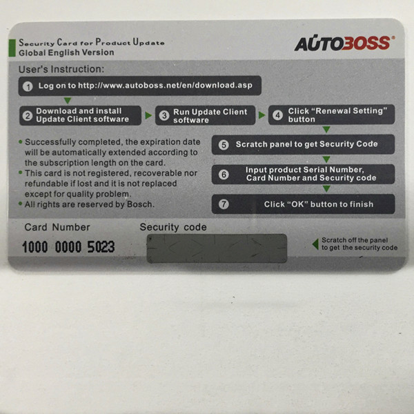 Autoboss V30/V30 Elite Security Card for One Year Online