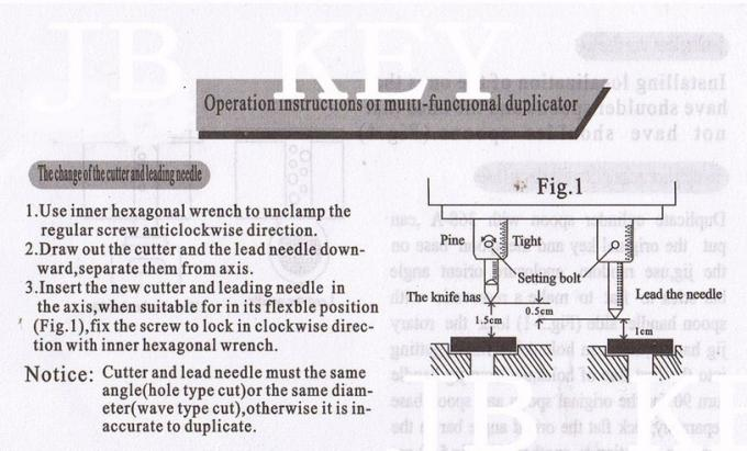 368A Key Cutting Duplicated Machine Instruction 1