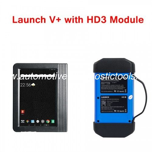 Launch X431 V+ Scanner 10.1 inch Tablet Global Version with X431 HD3 Module Work on both 12V & 24V Cars and Trucks