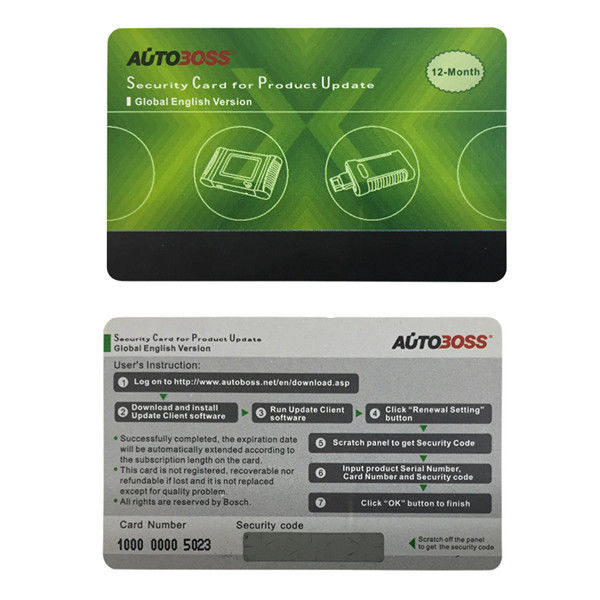 Security Card for Autoboss Auto Boss V30 Elite 1 Year Free Update Online Global English Version 2015